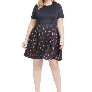 Adorable Hutch Shoe Print Twofer Dress 1X EUC